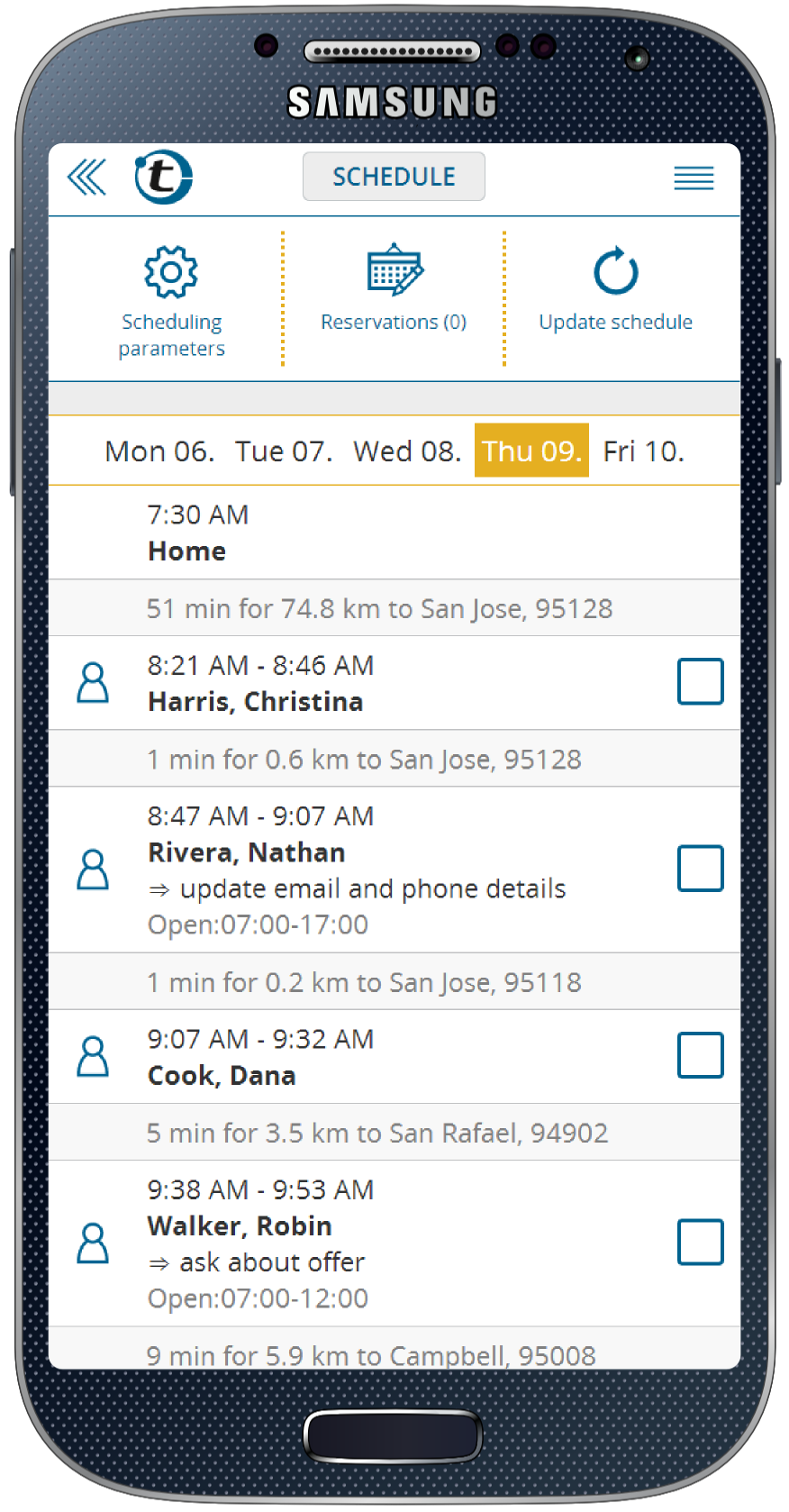 Route planner schedule on a smartphone (Samsung)