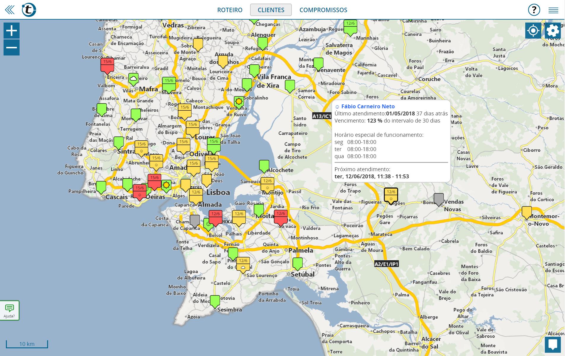 portatour®: uma alternativa para o Mappoint, com visualização de clientes em mapa