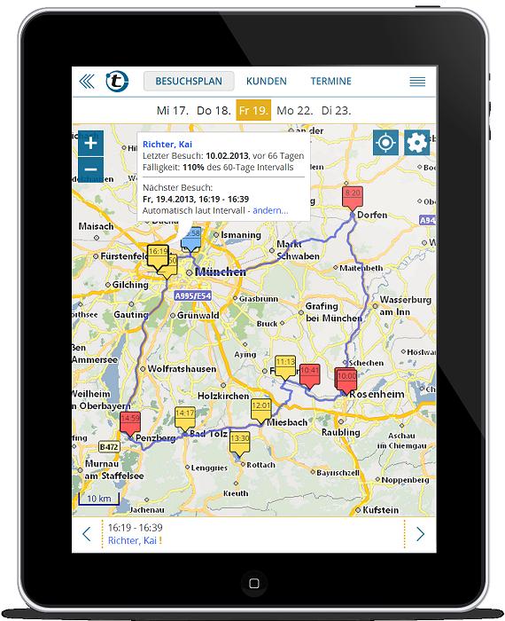 Mappoint Alternative: portatour Routenplanung für den Außendienst