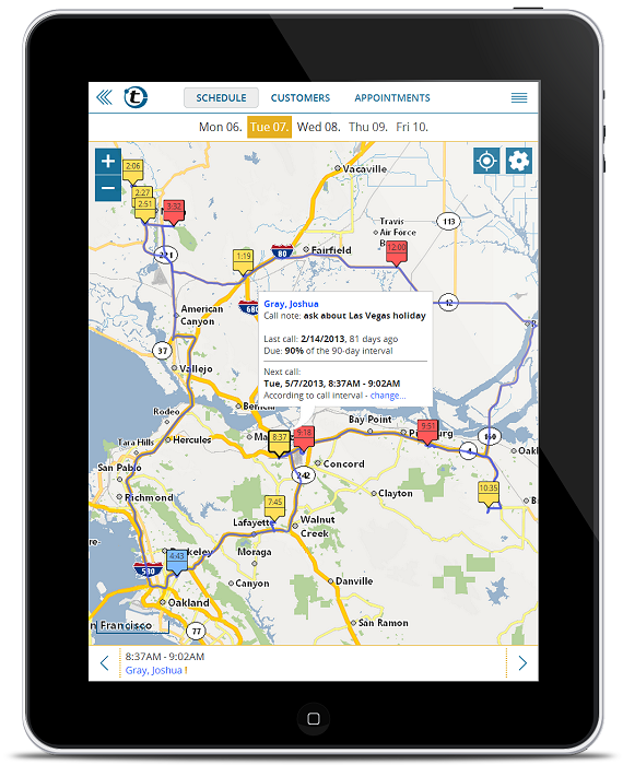 Mappoint alternative: portatour route-planner for outside sales