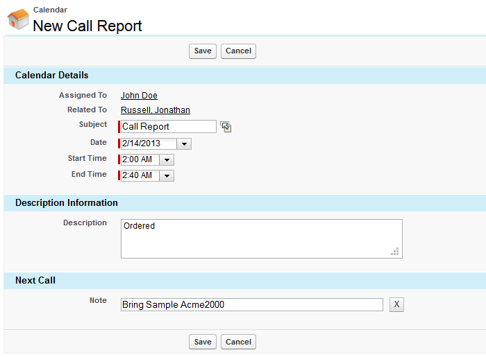 portatour for Salesforce my personal salesroute planner – Sales Call Report Sample