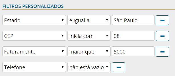 Filtros definidos pelo usuário para visualização de clientes no mapa