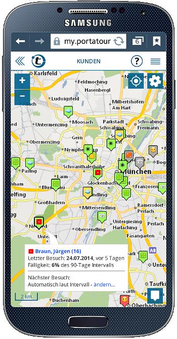 Landkarte mit Kunden am Smartphone