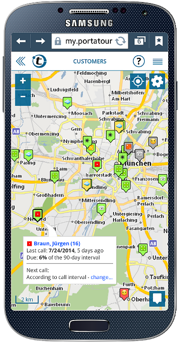 show customers on a map on a smartphone (android, iphone, app)