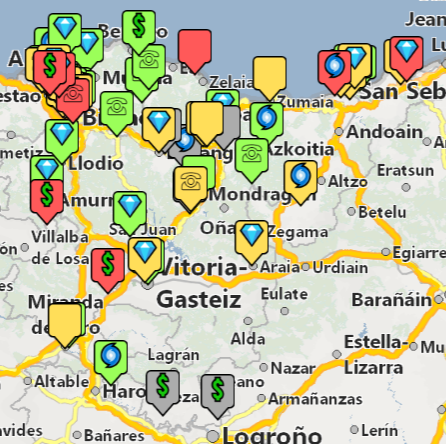 Símbolos para clientes en mapa