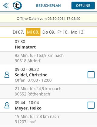 Besuchsplan/Routenplan offline verfügbar