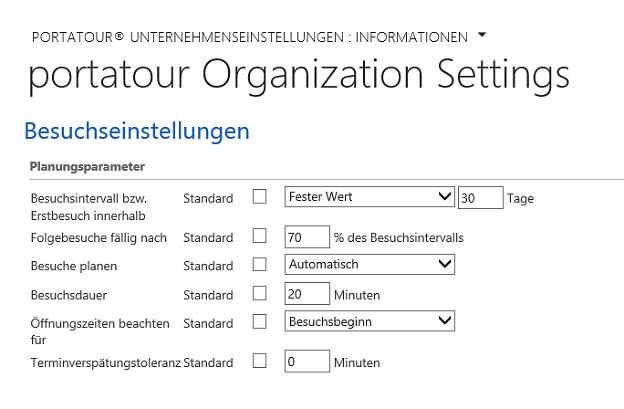 portatour für Microsoft Dynamics CRM Routenplanung Einstellungen
