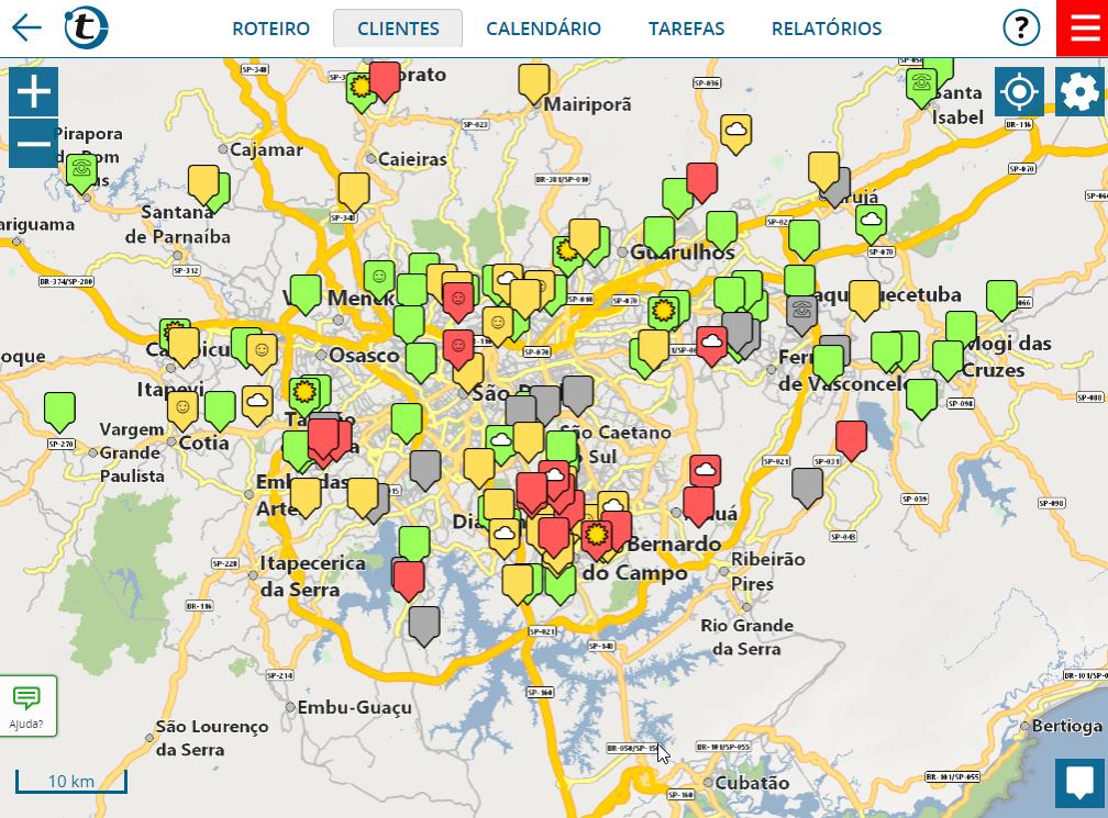 Visualização de clientes no mapa a partir de endereços originados no Excel ou CRM